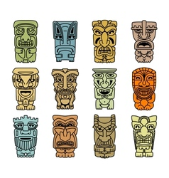 Tribal masks of idols and demons vector image