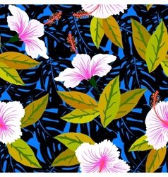 Tropical pattern with hibiscus flowers vector image