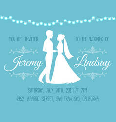 wedding invitation with silhouettes bride vector image