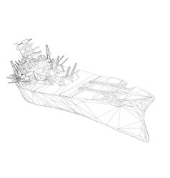 wireframe polygonal warship with guns 3d vector image