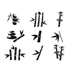 black bamboo icons vector image vector image