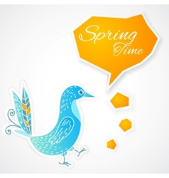 Blue bird with bubble on white background vector image vector image