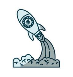 Blue shading silhouette of space rocket launch vector