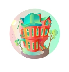 Bright house in the springtime Cottage in vector image vector image