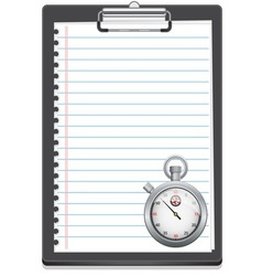 Clipboard with paper and stopwatch vector image