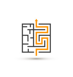 maze logo isolated labyrinth with solution vector image vector image