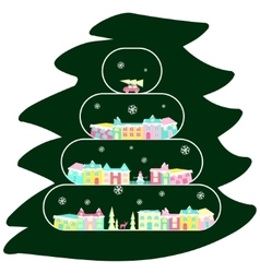 Winter village on christmas tree vector image