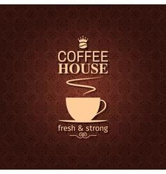 coffee cup vintage label background vector image vector image