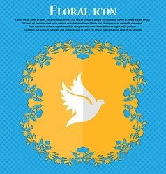 Dove Floral flat design on a blue abstract vector image