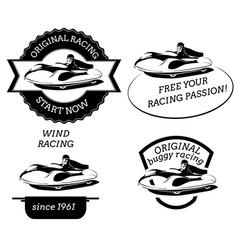 Retro logo with buggy pilot vector