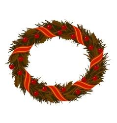 christmas dry holly wreath vector image