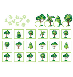 Counting game for children with trees vector