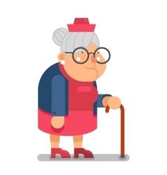 Granny old lady character cartoon flat design vector