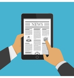Newspaper on tablet vector image vector image