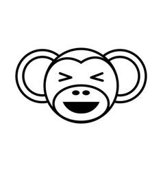 outline monkey head animal vector image vector image
