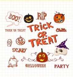 set of cute halloween elements vector image