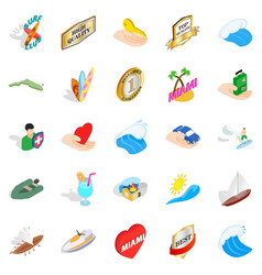 travel via boat icons set isometric style vector image vector image