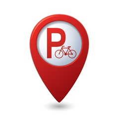 Parking for bicycle icon on map pointer vector image vector image
