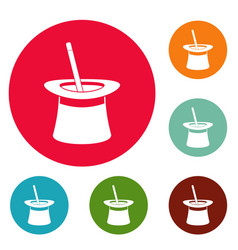 wand in hat icons circle set vector image