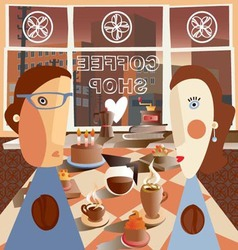 A couple in the coffee shop vector