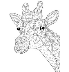 adult coloring bookpage a cute head of girrafe vector image