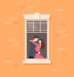 Apartment window with couple are kissing vector