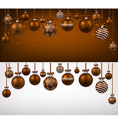 Arc background with brown christmas balls vector
