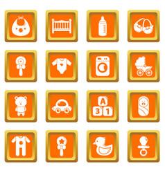 baby born icons set orange square vector image