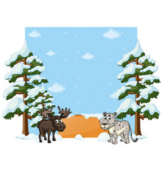 Banner design with cheetah and moose vector