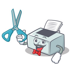 Barber printer character cartoon style vector
