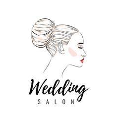 Beautiful woman with bun hairstyle beauty wedding vector