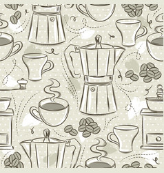 Beige seamless patterns coffee set coffee cup vector