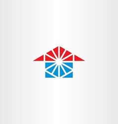 Blue red house icon triangle logo vector
