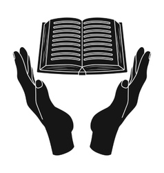 Book donation icon in black style isolated on vector image