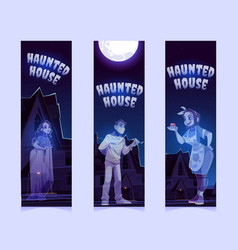 bookmarks with haunted house and ghosts at night vector image