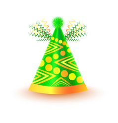 Bright festive cap with circles and triangles vector