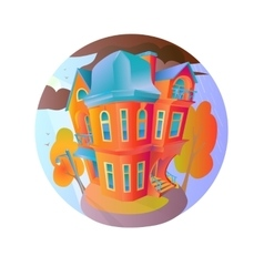Bright house in the autumn weather Cottage vector image