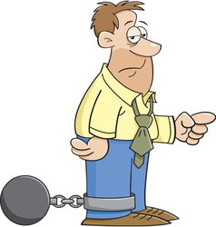 Cartoon Ball and Chain Man vector image