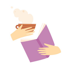 cartoon hands holding book and cup tea or vector image