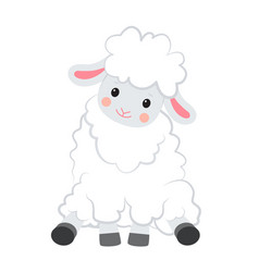 cartoon smiling white sheep sits on white vector image