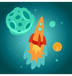 Cartoon space rocket vector