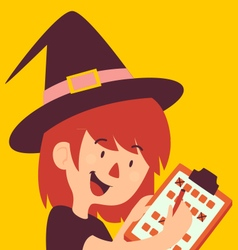 Cartoon Witch Holding Form vector image