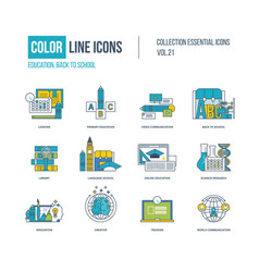 color icons primary education back to school vector image