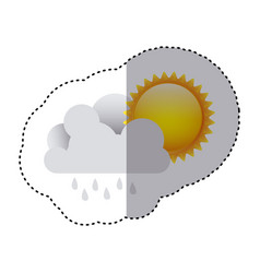 color sticker of cloud with rain and sun vector image