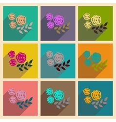 Concept of flat icons with long shadow rose branch vector