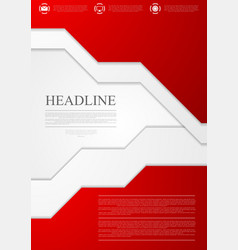 Corporate material red tech flyer design vector