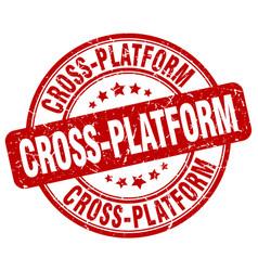 Cross-platform red grunge stamp vector