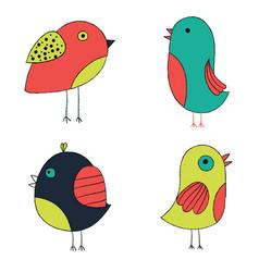 Cute hand drawn birds colorful birds collection vector