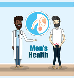 Doctor diagnosis and man with renal infection vector