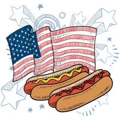doodle americana hotdog vector image